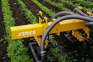 De Evers Agro schoffelbemester is leverbaar in een 8- en 12-rijige uitvoering en hangt achter een mesttank. Het doel: bemesten, schoffelen en zaaien (optie) in één werkgang.