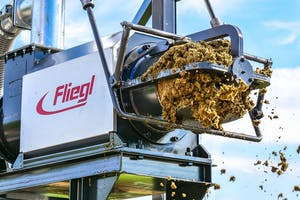 De mestscheider van Fliegl werkt met een persschroef die de mest door een zeef drukt. Foto's: Fliegl.